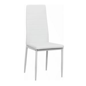 Produkt Stolička, biela ekokoža/biely kov, COLETA NOVA