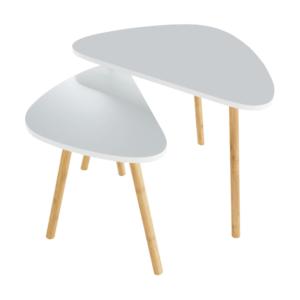 Produkt Sada dvoch konferenčných stolíkov, biela/prírodná, BISMAK