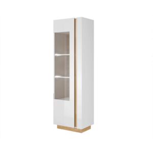 Produkt Vysoká vitrína 60, biela/dub grandson/biely lesk, CITY